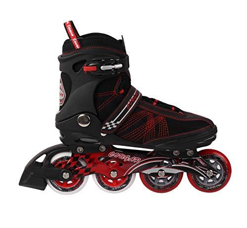 COUGAR Inline Skates, ABEC 7 Carbon Aluminium, Verschiedene Größen und Farben, Farbe: schwarz/rot, Größe:42