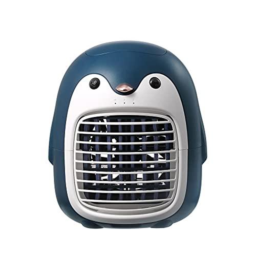 LMJ Penguin Portable Fan Small Air Conditioning, Desktop Fan Speed Adjustable, Personal USB Fan Dorm Room Home (Color : Blue)