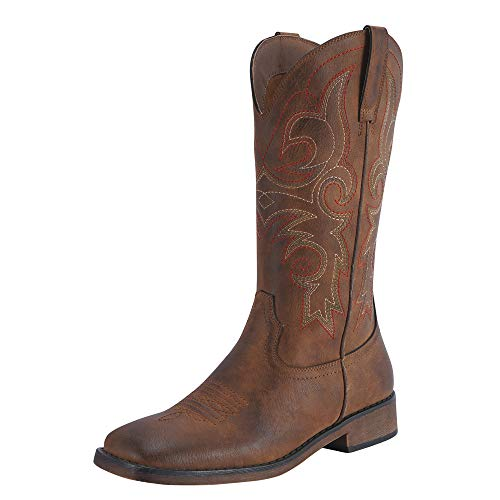 SheSole Women's Fashion Western Cowgirl Cowboy Boots Square Toe Embroidered Mid Calf Brown US Size 9