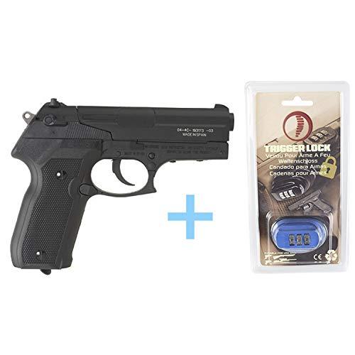 Gamo Pack Pistola Aire Comprimido (CO2) PT-80 / Full Metal, Pistola perdigones, Potencia 3 Julios, Calibre 4.5 mm + Candado de Seguridad Yatek + Balines Match 250 Unidades + Bombona de CO (12 g).