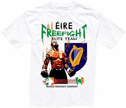 "Shirtzshop - Camiseta de manga corta, diseño con texto en inglés ""aprom Irlanda FREEFIGHT"" Blanco S"