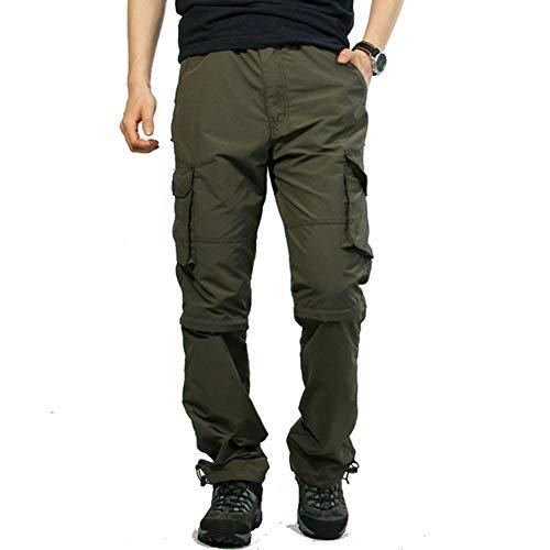 wei Excursionismo Pantalones Convertible Hombres Tramo Respirable Zip Off Carga Pantalones UPF 50 Resistente Agua Pescar Alpinismo Viaje Carpintero Pantalones Cortos,Verde,XL