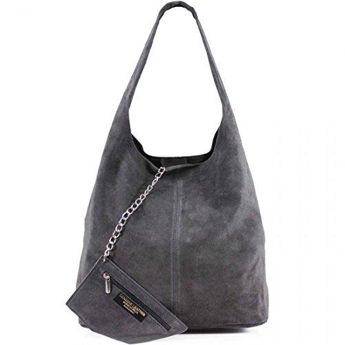 AMBRA Moda Damen Ledertasche Shopper Wildleder Handtasche Schultertasche Beuteltasche WL818 (Anthrazitgrau)