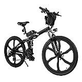 BiciElettriche E-bike Folding Bike, 26' Ebike Uomini 250W Bici Elettrica con Batteria Rimovibile 8Ah, Shimano 21 Velocità, City Bike per Uomini e Donne