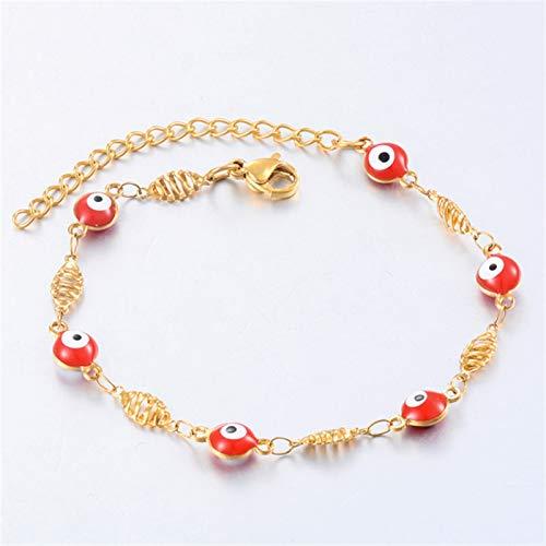JIEERCUN Pulsera de Acero Inoxidable 6mm Ojo de Mujer Esmalte Perla Joyería Regalo Pulsera de decoración brazaletes (Color : D, Size : 18 cm)