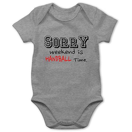 Sport Baby - Sorry Weekend is Handball Time - 1/3 Monate - Grau meliert - Handball Strampler - BZ10 - Baby Body Kurzarm für Jungen und Mädchen