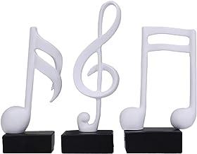 Housoutil 3pcs Musical Note Figurine Statue Sculpture Home Decor Decoration Gift Arts Crafts for Office Bookshelf TV Cabinet