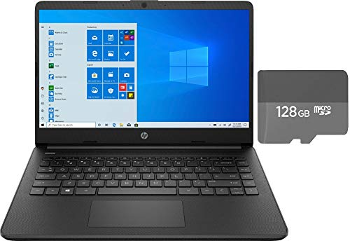 HP 14' HD Micro-Edge Laptop Bundle Woov 128GB MicroSD Card | Intel Celeron N4020 | 4GB RAM | 64GB eMMC | Intel UHD Graphics | HDMI | USB 3.1 | Windows 10 | Black