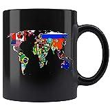 Taza de café de cerámica del Atlas de la bandera del país del mapa del mundo Taza de té