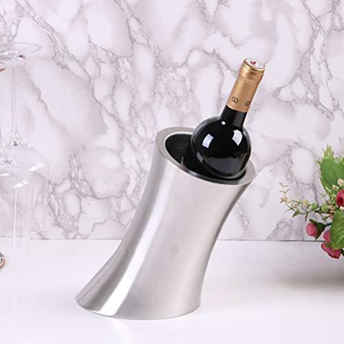 Enfriador de botellas de vino y champán de acero inoxidable Gran diseño y muy duradero, diseño de diapositivas, adecuado para reuniones, fiestas, BBQ, etc,Silver
