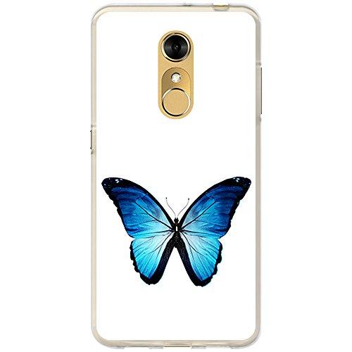 BJJ SHOP Transparent Hülle für [ ZTE Blade A910 ], Flexible Silikonhülle, Design: Blauer & schwarzer Schmetterling