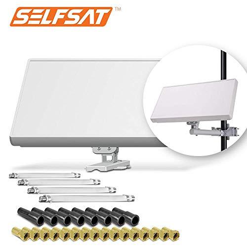 Selfsat H21D4+ 4 TV Teilnehmer SAT Flachantenne Flat + Fensterdurchführung + Kabel Full HD 4K