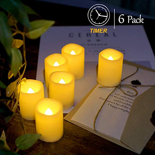 Raycare 6PCS Flickering Flameless Candles with 4H/8H Mode Timer, 500+ Hours Battery Operated Votive Candles, LED Tealight Candles, Amber Yellow Light