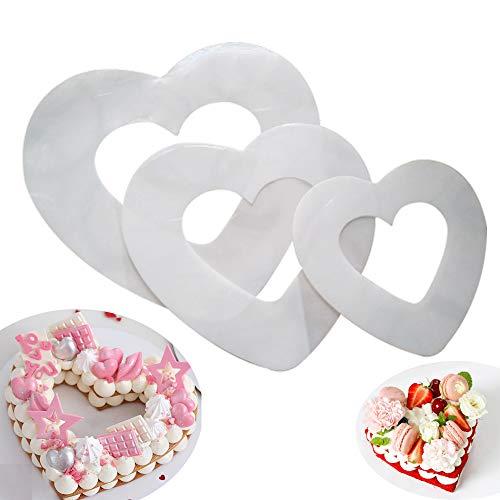 RAYNAG Set of 3 Heart-shaped Cake Stencils Baking Templates Plastic Sheet Flat Bread Stencil Template 6/8/12 Inch Decor Stencil