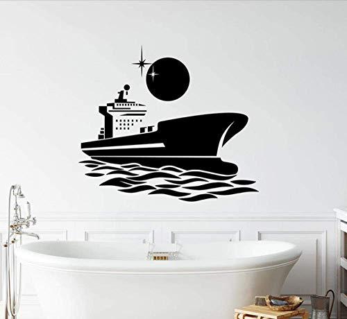 Pegatinas De Pared Mural Barco Marino Mar Océano Noche Estrellas Vinilo Romántico Ventana Baño Niños Dormitorio Decoración Interior Papel Tapiz 42X48 Cm
