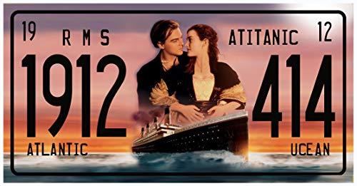 OPO 10 - Placa Decorativa de Metal de la película Titanic con Leonard Di Caprio y Kate Winslet - Tamaño 30x15 cms