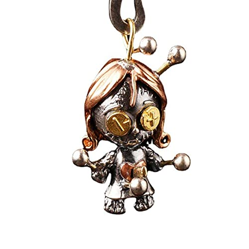 Juyuntong Cute S925 Voodoo Doll with Movable Joints Necklace- Personality Retro Voodoo Doll Pendant Gifts for Woman & Man
