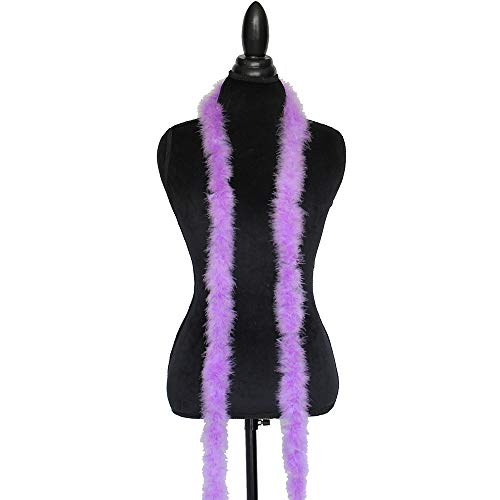 Cynthia's Feathers Marabou Feather Boa 6 Feet Long 15 Grams Crafting Sewing Trim Hair Bows Wedding Halloween (Lavender)