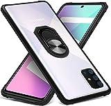 Dosnto Funda Samsung Galaxy A71 Antigolpes Dura Carcasa Transparente Silicona Protección con 360 Grados Anillo iman Soporte, Negro