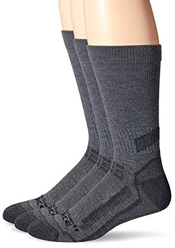 Carhartt Men's Force Performance Work Crew Socks (3/6 Packs), Charcoal Heather, Shoe Size: 6-12