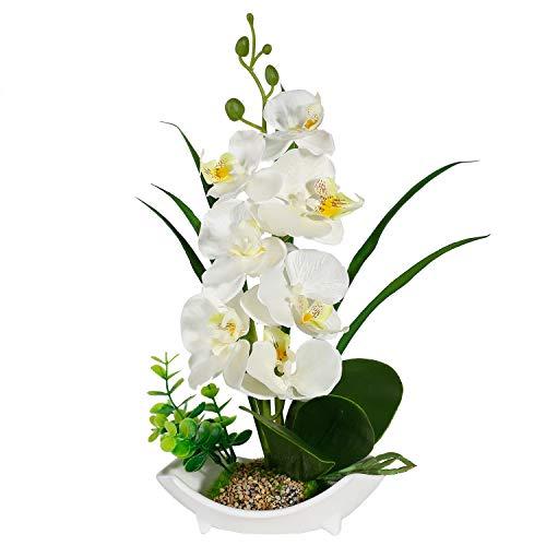 RENATUHOM True Holiday weiß orchideen künstlich Kunstblumen Mit weißer Porzellan Vase, realistisch und lebensecht Bonsai-Dekoration Zuhause Wohnzimmer Badezimmer Kunst Dekoration
