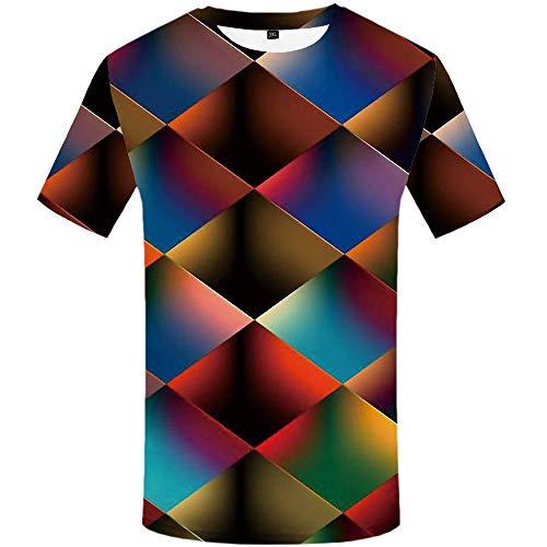 Kurzarm Rundhals Sweatshirt Lose Beiläufig Farbwechsel dreieckiges Prisma T-Shirt männlich 3DT Shirt Kurzarm Rundhals Digitaldruck lässig Kurzarm, Farbe, 2XL