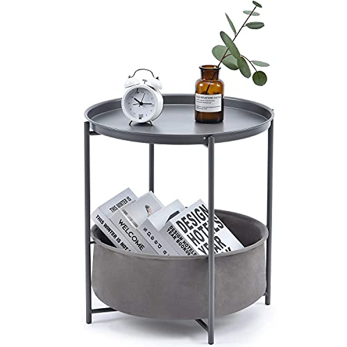 TOOLF End Table, Metal Nightstand, Coffee Round Table, Sofa Side Snack Table with Detachable Tray Top and Fabric Storage Basket, Scandi Style Table for Living Room Bedroom (Dark Grey)