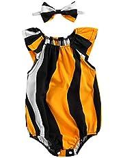 الرضع الإبداعية الطباعة الهندسية قبالة الكتف يطير كم رومبير + القوس أغطية الرأس تنفس الطفل بنات حللا الزي (Color : Black and Yellow, Kid Size : 12M)