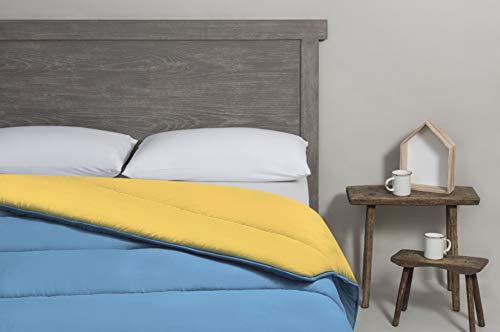 Velfont - Edredón nórdico Bicolor (150 x 220 cm), Color Azul-Ocre Cama de 90 cm