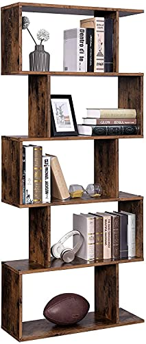 Huippy 5 Shelf Bookcase, Modern S-Shaped Z-Shelf Style Bookshelf, Multifunctional Wooden Storage Display Stand Shelf for Living Room, Home Office, Bookcase Storage Shelf Rustic Brown