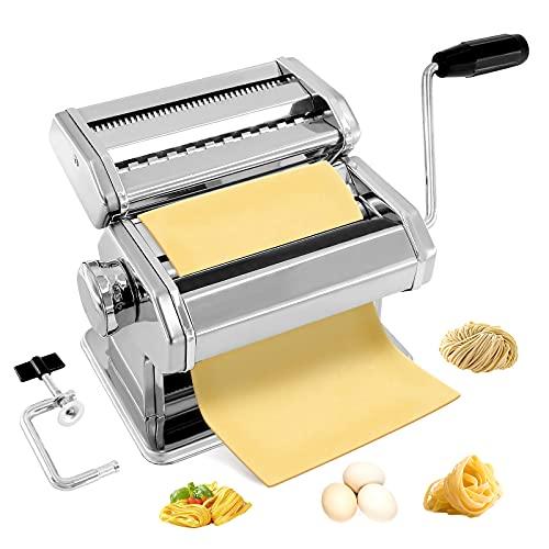 Máquina para hacer pasta casera, prensa manual de fideos de rodillo de pasta, con 9 ajustes de grosor para fettuccine, mango desmontable y abrazadera