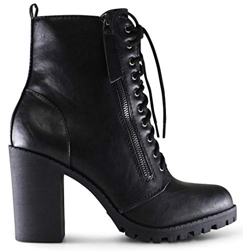 Marco Republic Manila Women's Round Toe Block Stacked Heels Lace Up Military Combat Boots - (Black PU) - 7.5