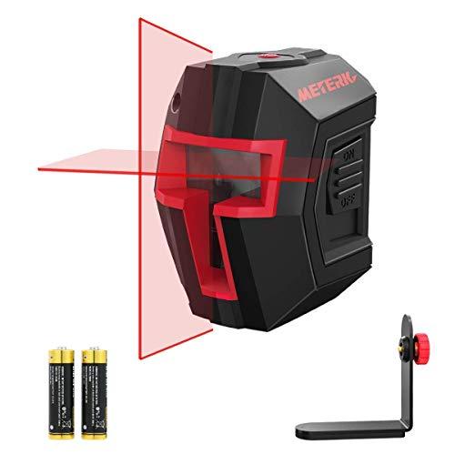 Kreuzlinienlaser, Meterk Laser Wasserwaage 15M, Selbstnivellierend Linienlaser Dualem Lasermodul 360°Umschaltbar Horizontal/Vertikal mit Flexiblem Magnetfuß, inklusive Batterie
