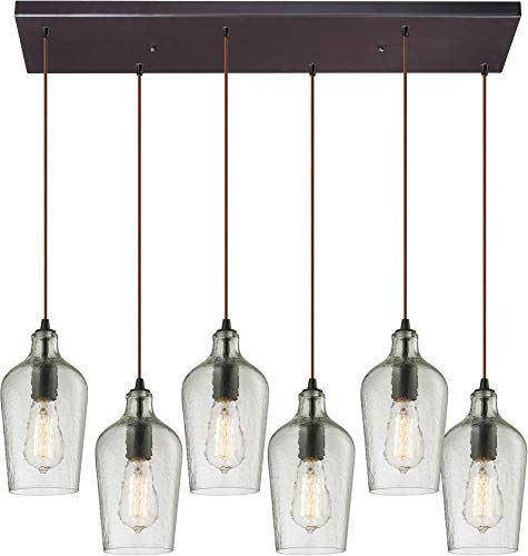"""ELK Lighting 10331/6RC-CLR Hammered Glass Collection 6 Light Chandelier, 10 x 9 x 30"""", Oil-Rubbed Bronze"""