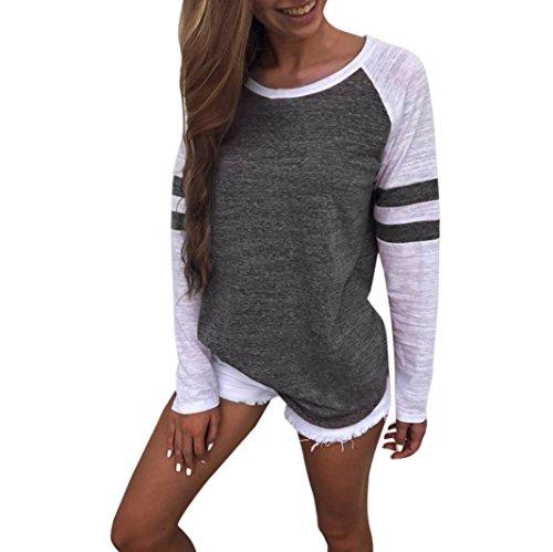 OVERDOSE Mode Damen Frauen Rundhals Lange Hülsen Spleiß Blusen Oberseiten Kleidung T-Shirt Tops Pullover (L, Dark Gray)
