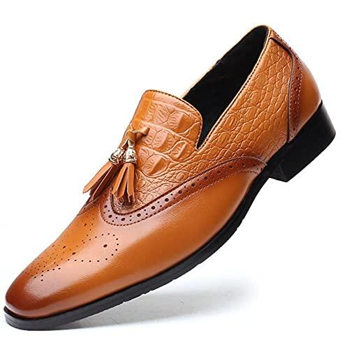 Nuevos hombres zapatos de cuero hombres zapatos de vestir clásico hombre negocio zapato borla para hombres Oxford marca de lujo más tamaño-amarillo, 40