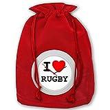 Hangdachang I Love Rugby Sac de Noël avec cordon de serrage Motif Live Love Golf