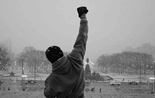 time4art Rocky Balboa Boxen Sport Boxing Schwarz und Weiß Print Canvas Bild auf Keilrahmen Leinwand Giclee