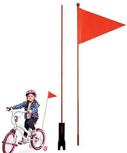 Fahrrad Sicherheitswimpel Kinder Fahrrad Sicherheit Dreiecksflagge mit Halterung Wasserdicht Rot Fahrrad Wimpel für Jungen Mädchen Radfahren (1,2 m höhenverstellbar)
