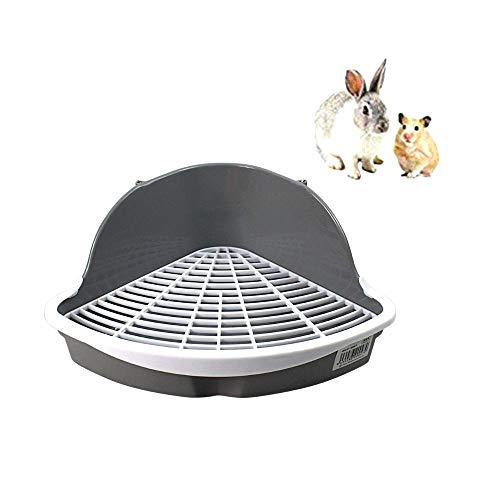 Baño para roedores Bandeja higiénica esquinera para Mascotas Entrenador de Orinal fácil de limpiar para Animales Pequeñospara hámsters, Chinchillas, cobayas, Conejos y Hurones (34.2*26.2*14.5cm)