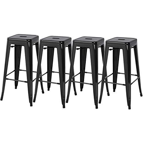 Yaheetech 4er Barhocker Metall Küchenhocker Industrial - Bartisch Hocker Sitzhöhe 76,5 cm schwarz
