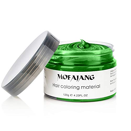 Green Hair Color Wax for Hair Dye Temporary Hairstyle Cream 4.23 oz Pomades Natural Hairstyle Wax for Men & Women Party Cosplay Halloween Date (Green)