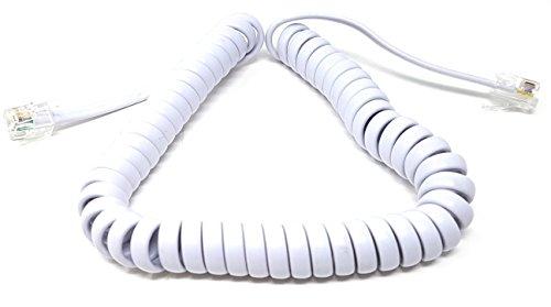 MainCore 2m long White RJ10 to RJ10 Coiled Spiral Telephone Handset...