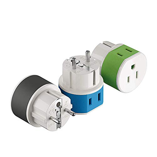 Germany, France, Schuko Power Plug Adapter by OREI with 2 USA Inputs - Travel 3 Pack- Type E/F (US-9) Safe Grounded Use with Cell Phones, Laptop, Camera Chargers, CPAP, and More