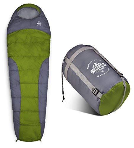 Where Tomorrow Schlafsack Mumienschlafsack 230 x 80 cm - inklusive Packsack - 50 x 25 cm gepackt -für Outdoor Camping, Wandern, Backpacking - Hellgrün