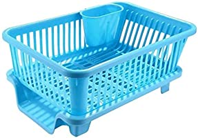 Raawan 3 in 1 Large Durable Plastic Kitchen Sink Dish Rack Drainer Drying Rack Washing Basket with Tray for Kitchen,...