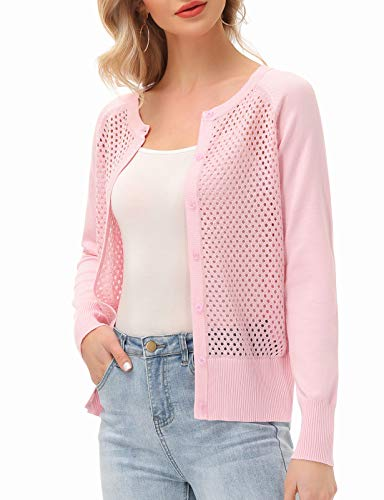 Breathable Cardigans for Women Pink Mesh Cardigan Sweater(Pink Crochet,M)