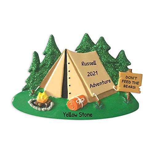 Personalized Camping Tent Christmas Tree Ornament 2019 - Brown Cabin Green Glitters Don't Feed Wood Sign Fire First Family Couple Friend 1st Outdoor Activity Vacation Year - Free Customization