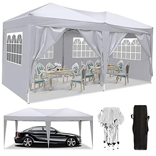 3x3m/3x6m UV Schutz 50+ Faltpavillon, Pavillon, wasserdicht gartenpavillon, festzelt partyzelt hochklappbare Gazebo Festival für Strand / Sofortunterkunft / Flohmarkt / Camping (Weiß, 3x6M)