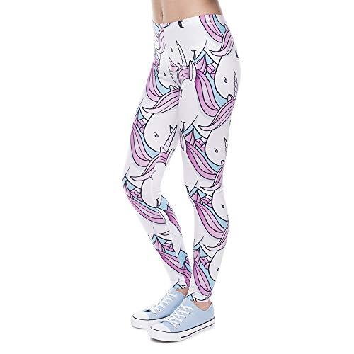 MAOYYMYJK Leggings de Mujer de Moda Pantalones Impresos Digitales Legging de Unicornio Rosa Blanco Pantalones de Mujer de Cintura Alta Delgados
